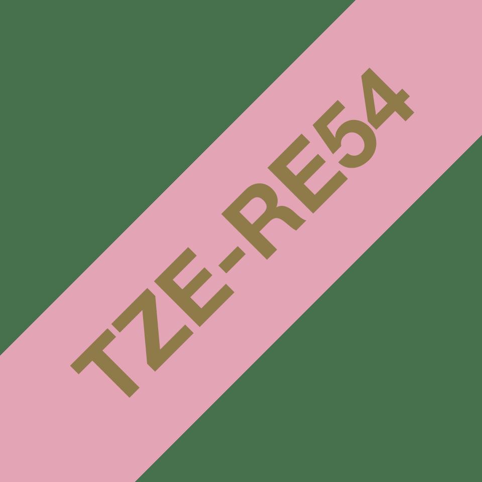 Oryginalna taśma wstążkowa Brother TZe-RE54 – złoty nadruk na różowym tle, 24mm szerokości