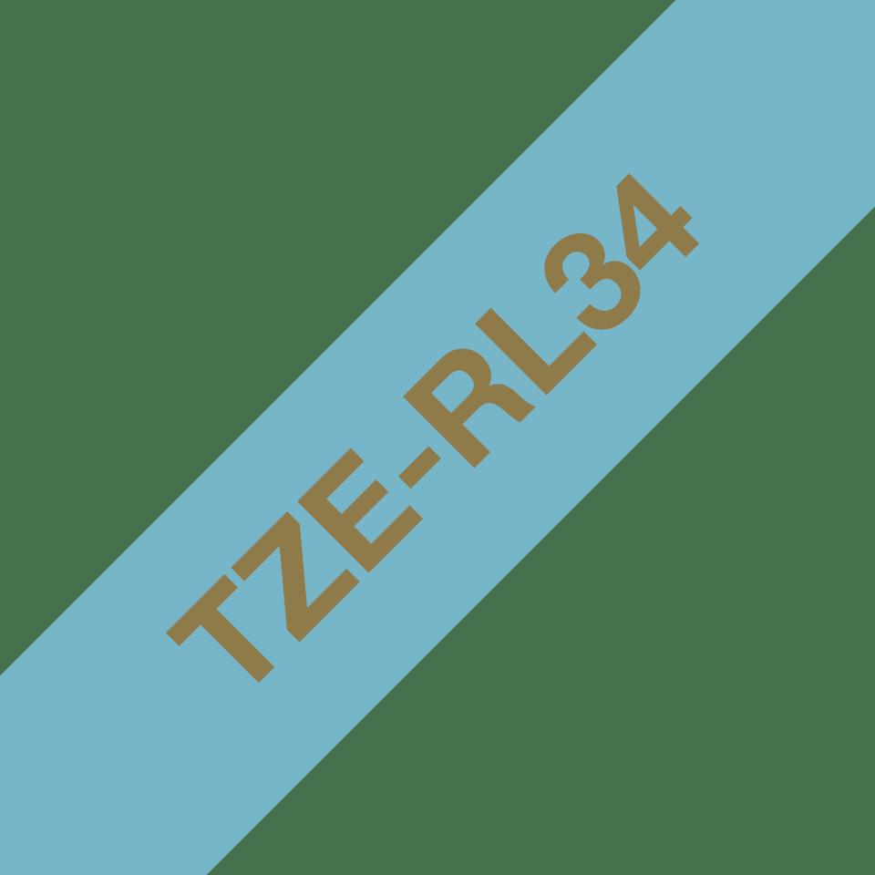 Oryginalna taśma wstążkowa Brother TZe-RL34 – złoty nadruk na jasno niebieskim tle, 12mm szerokości