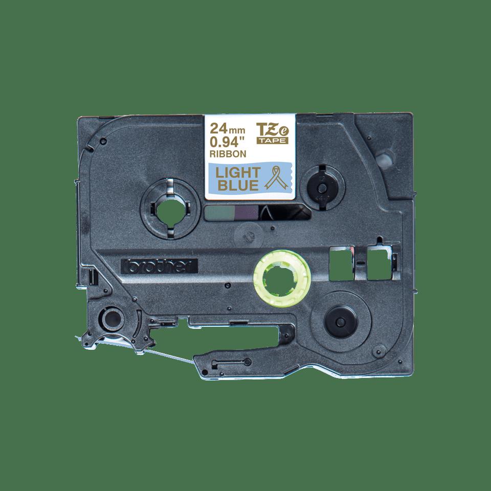 Oryginalna taśma wstążkowa Brother TZe-RL54  – złoty nadruk na jasno niebieskim tle, 24mm szerokości 2