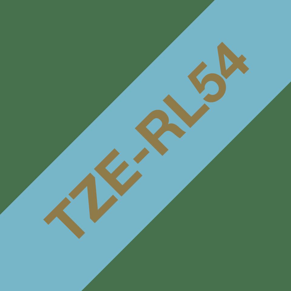 Oryginalna taśma wstążkowa Brother TZe-RL54  – złoty nadruk na jasno niebieskim tle, 24mm szerokości
