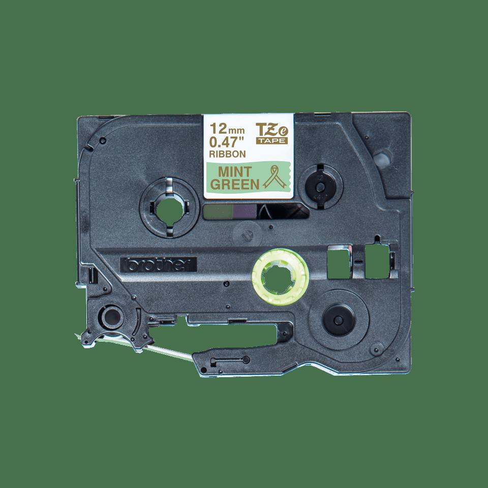 Oryginalna taśma wstążkowa Brother TZe-RM34  – złoty nadruk na jasno zielonym tle, 12mm szerokości