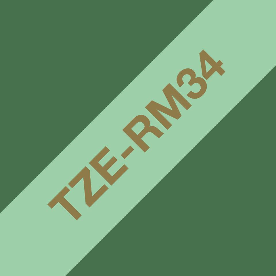 Oryginalna taśma wstążkowa Brother TZe-RM34  – złoty nadruk na jasno zielonym tle, 12mm szerokości 3