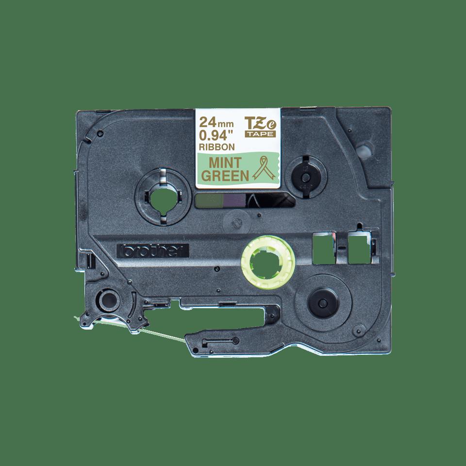 Oryginalna taśma wstążkowa Brother TZe-RM54 – złoty nadruk na jasno zielonym tle, 24mm szerokości