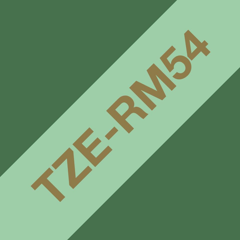 Oryginalna taśma wstążkowa Brother TZe-RM54 – złoty nadruk na jasno zielonym tle, 24mm szerokości 3