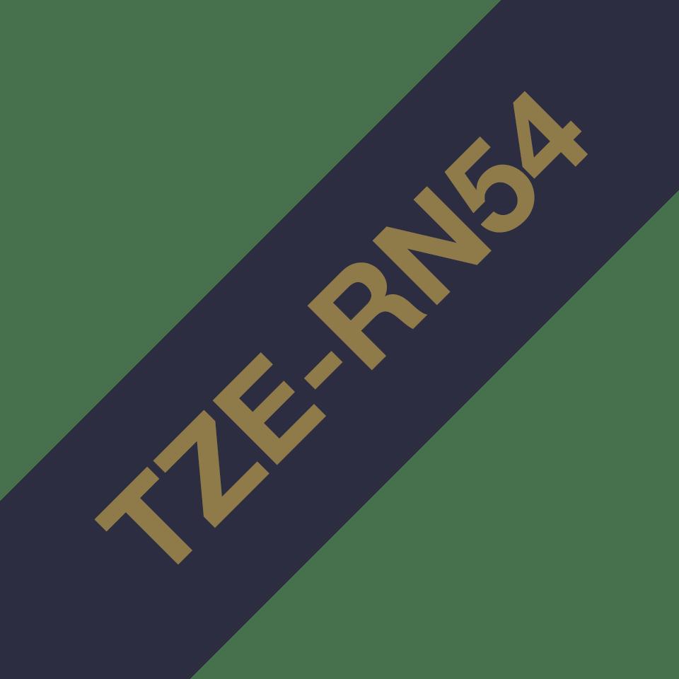 Oryginalna taśma wstążkowa Brother TZe-RN54 – złoty nadruk na granatowym tle, 24mm szerokości