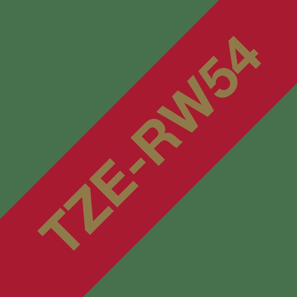 Oryginalna taśma wstążkowa Brother TZe-RW54 – złoty nadruk na tle w kolorze czerwonego wina, 24mm szerokości