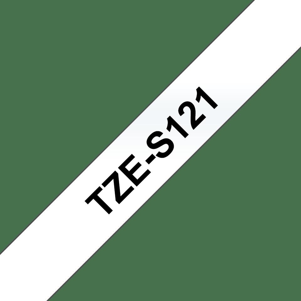 Oryginalna laminowana taśma z mocnym klejem TZe-S121 firmy Brother – czarny nadruk na przezroczystym tle, 9mm szerokości