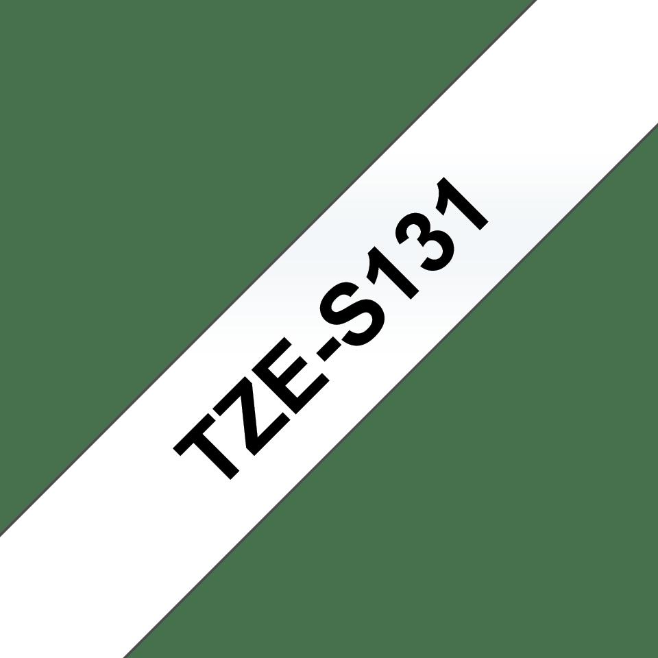 Oryginalna laminowana taśma z mocnym klejem TZe-S131 firmy Brother – czarny nadruk na przezroczystym tle, 12mm szerokości