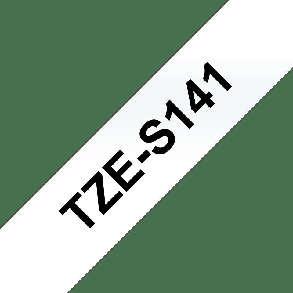 Oryginalna laminowana taśma z mocnym klejem TZe-S141 firmy Brother – czarny nadruk na przezroczystym tle, 18mm szerokości 3