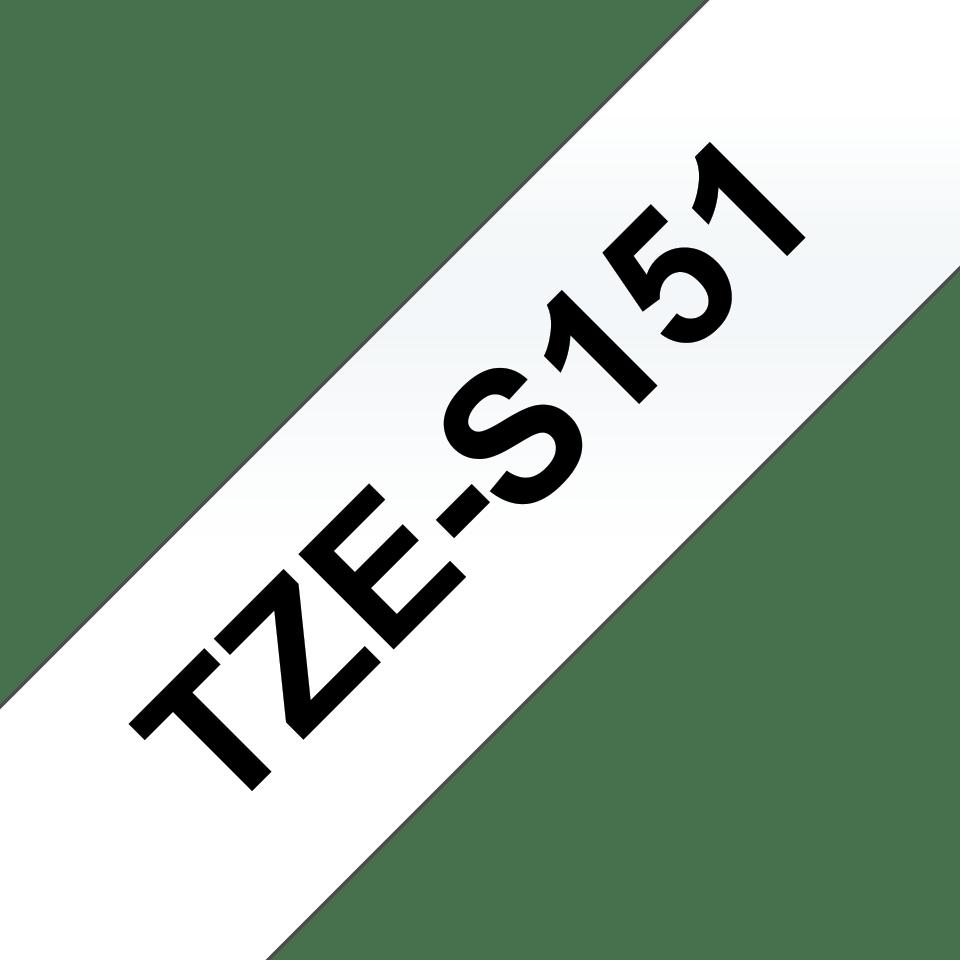 Oryginalna laminowana taśma z mocnym klejem TZe-S151 firmy Brother – czarny nadruk na przezroczystym tle, 24mm szerokości 3