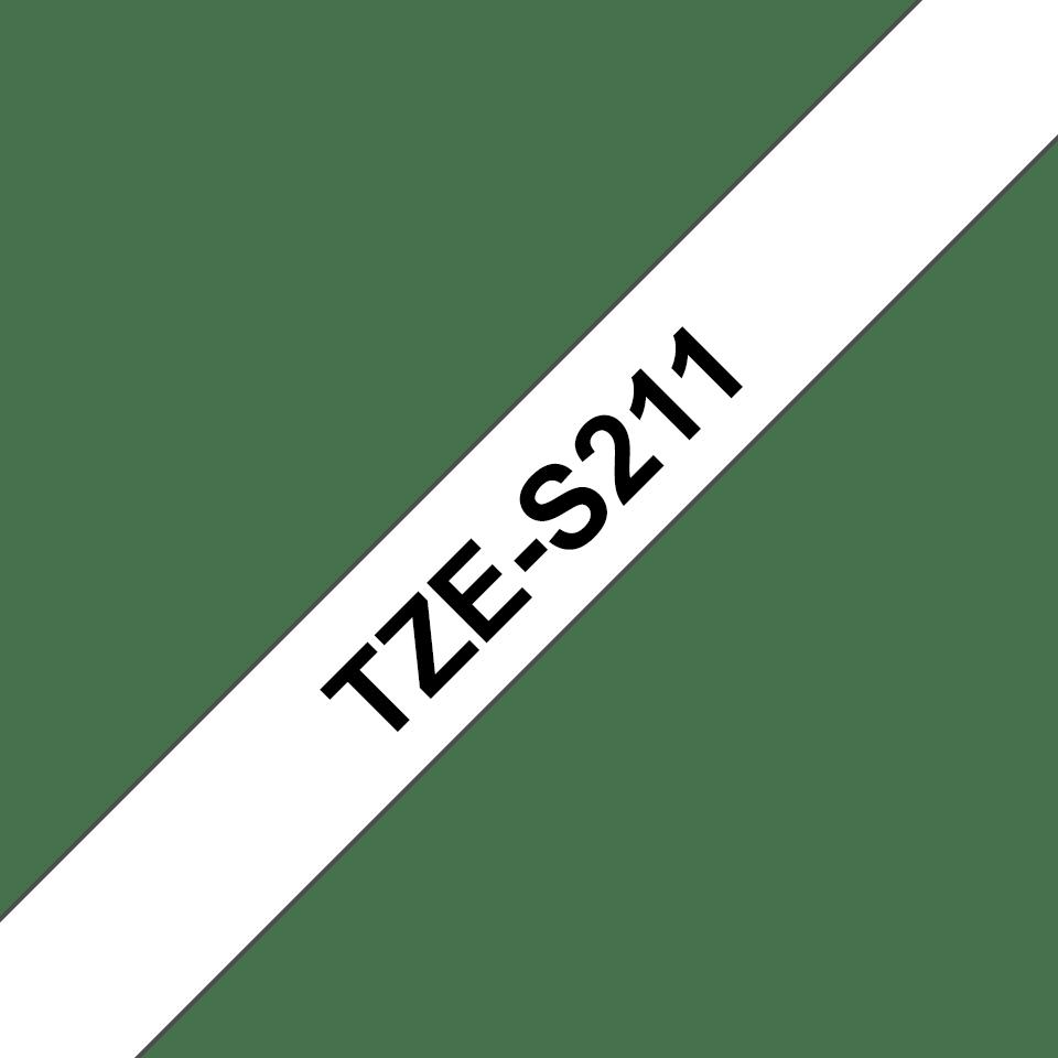 Oryginalna laminowana taśma z mocnym klejem TZe-S211 firmy Brother – czarny nadruk na białym tle, 6mm szerokości 3
