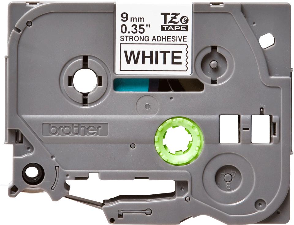 Oryginalna laminowana taśma z mocnym klejem TZe-S221 firmy Brother – czarny nadruk na białym tle, 9mm szerokości