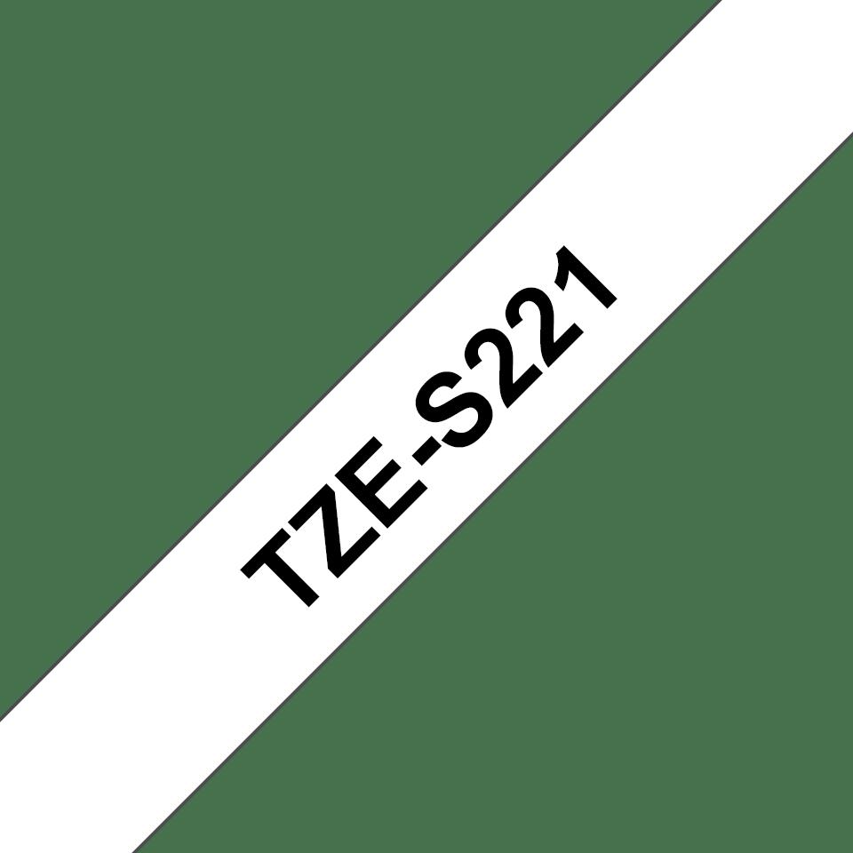 Oryginalna laminowana taśma z mocnym klejem TZe-S221 firmy Brother – czarny nadruk na białym tle, 9mm szerokości 3