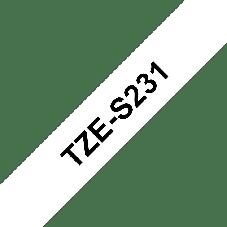Oryginalna taśma do drukarek etykiet Brother TZe-S231  – czarny nadruk na białym tle, 12 mm szerokości 3