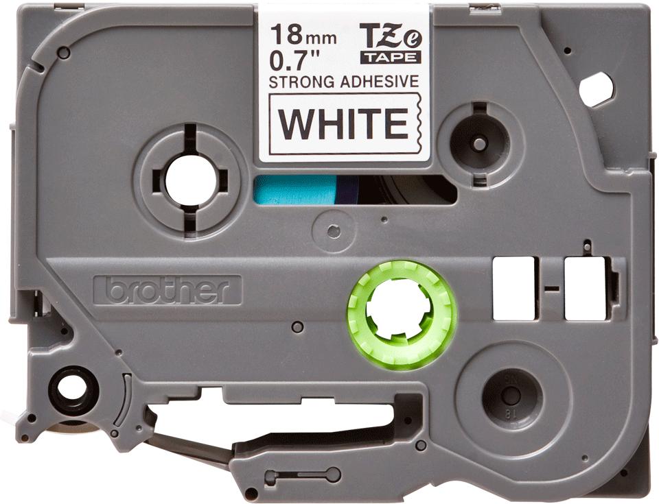 Oryginalna laminowana taśma z mocnym klejem TZe-S241 firmy Brother – czarny nadruk na białym tle, 18mm szerokości