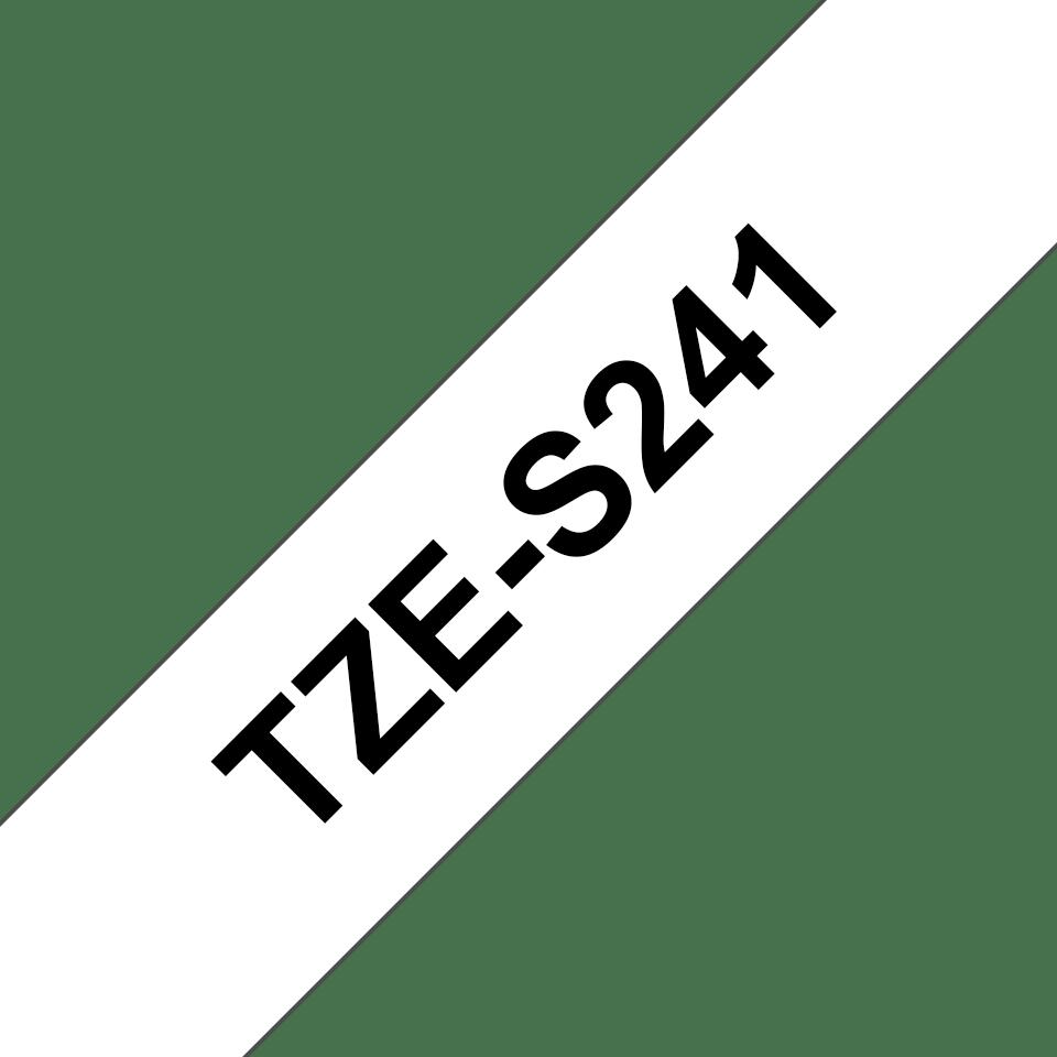 Oryginalna laminowana taśma z mocnym klejem TZe-S241 firmy Brother – czarny nadruk na białym tle, 18mm szerokości 3