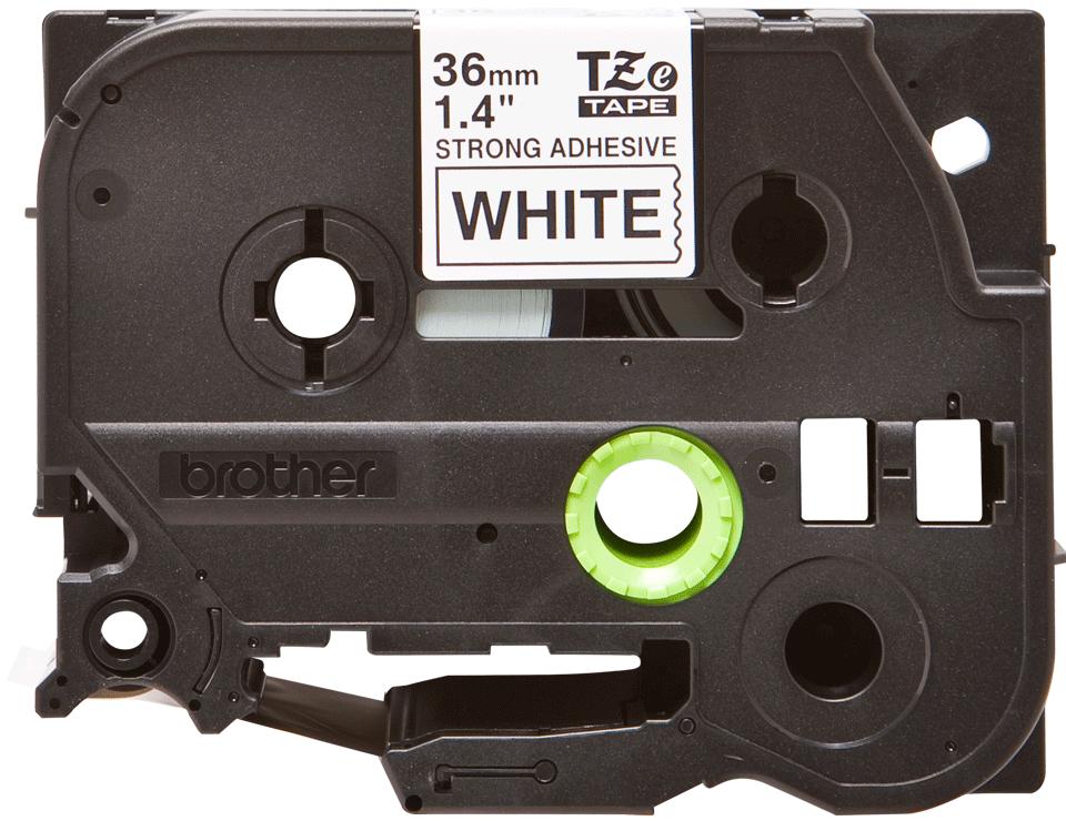 Oryginalna laminowana taśma z mocnym klejem TZe-S261 firmy Brother – czarny nadruk na białym tle, 36mm szerokości