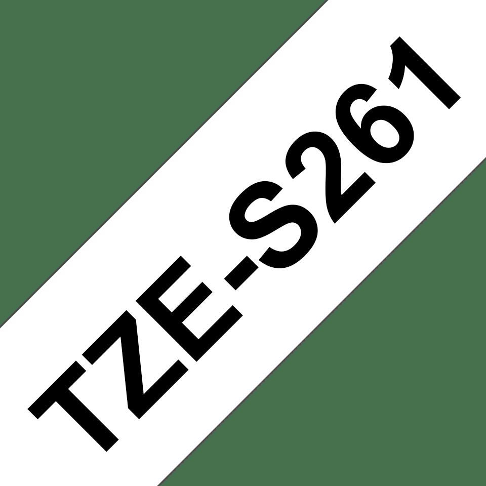 Oryginalna laminowana taśma z mocnym klejem TZe-S261 firmy Brother – czarny nadruk na białym tle, 36mm szerokości 3