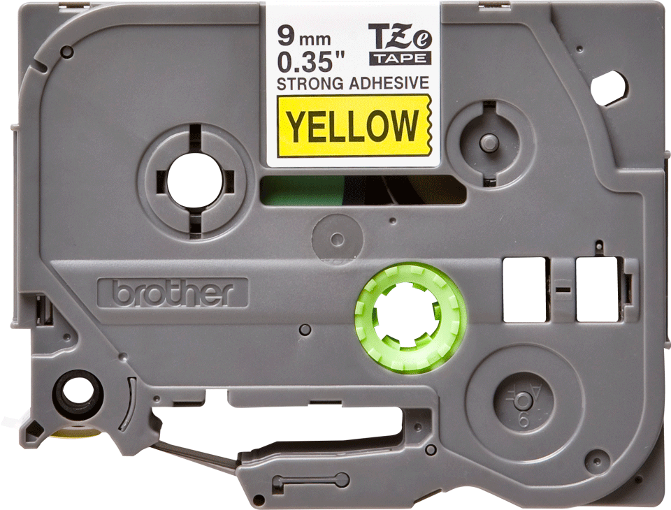 Oryginalna laminowana taśma z mocnym klejem TZe-S621 firmy Brother – czarny nadruk na żółtym tle, 9mm szerokości