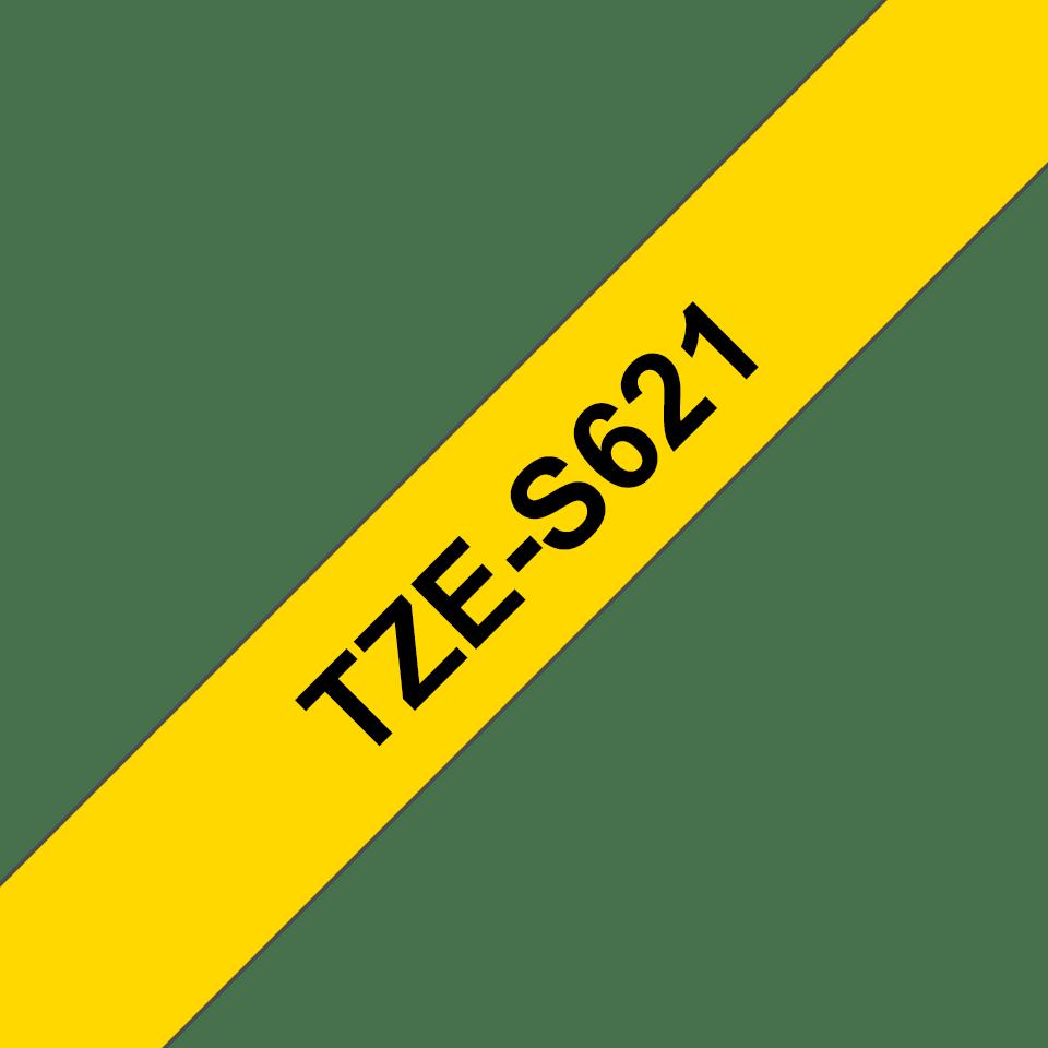 Oryginalna laminowana taśma z mocnym klejem TZe-S621 firmy Brother – czarny nadruk na żółtym tle, 9mm szerokości 3