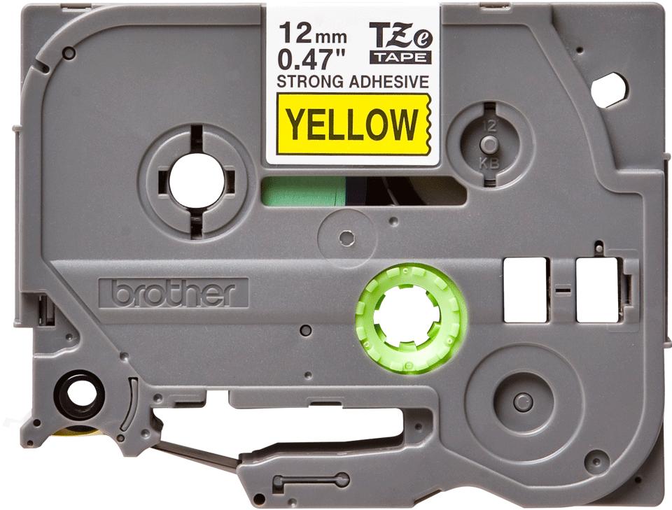 Oryginalna laminowana taśma z mocnym klejem TZe-S631 firmy Brother – czarny nadruk na żółtym tle, 12mm szerokości
