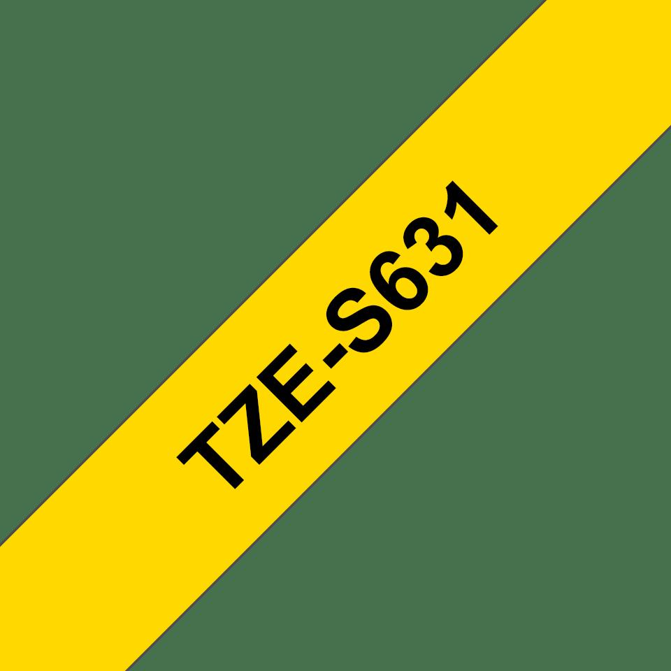 Oryginalna laminowana taśma z mocnym klejem TZe-S631 firmy Brother – czarny nadruk na żółtym tle, 12mm szerokości 3