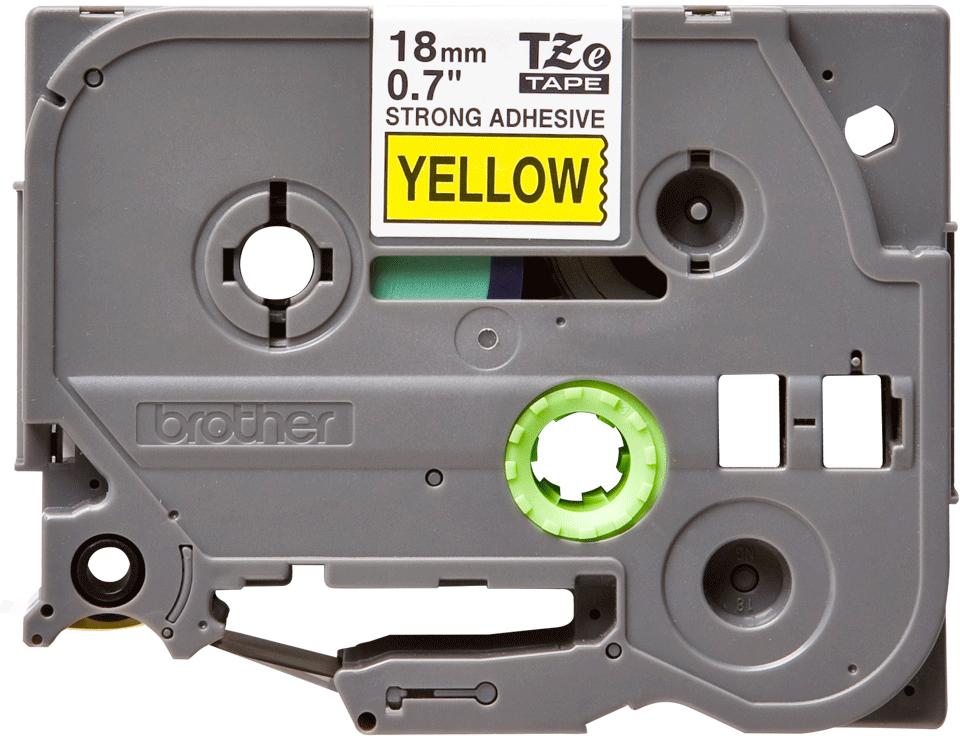 Oryginalna laminowana taśma z mocnym klejem TZe-S641 firmy Brother – czarny nadruk na żółtym tle, 18mm szerokości