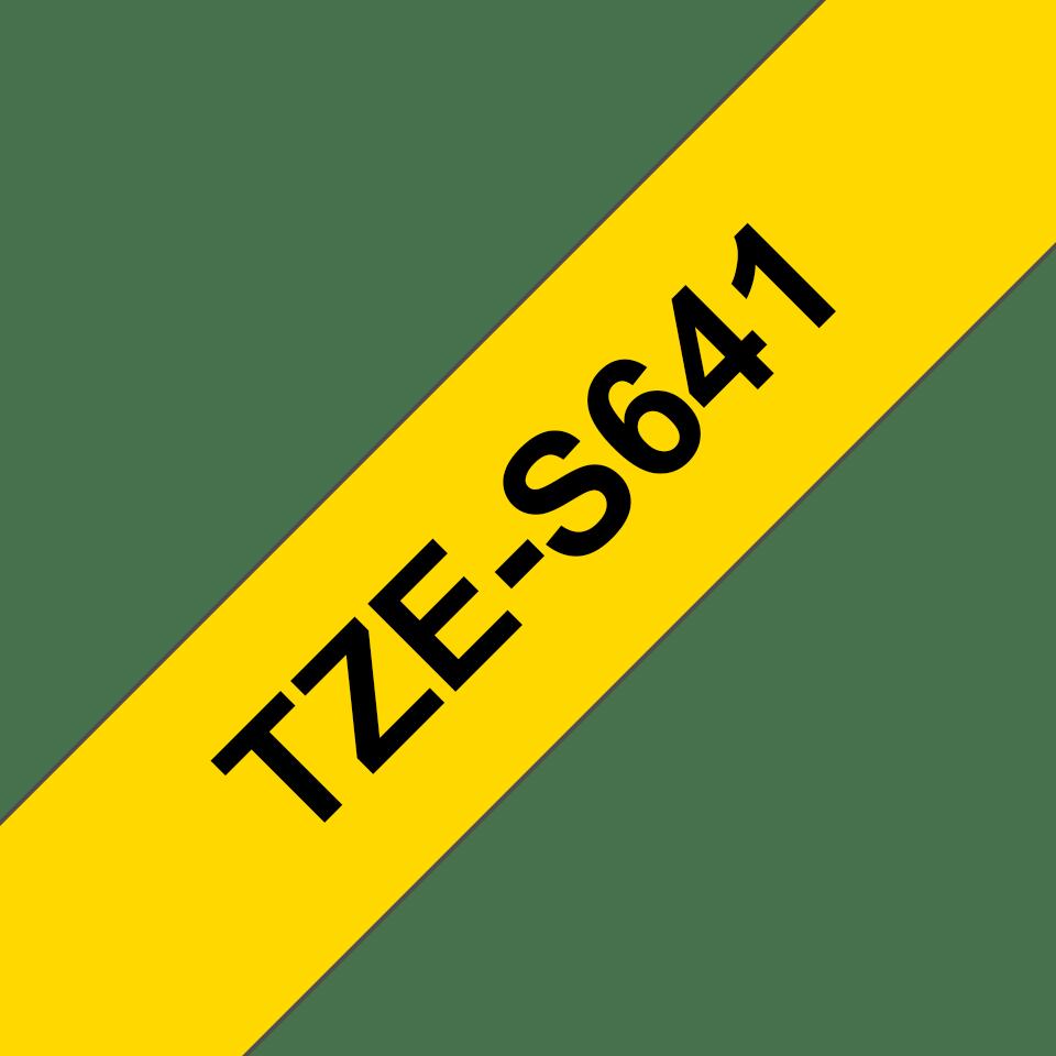 Oryginalna laminowana taśma z mocnym klejem TZe-S641 firmy Brother – czarny nadruk na żółtym tle, 18mm szerokości 3