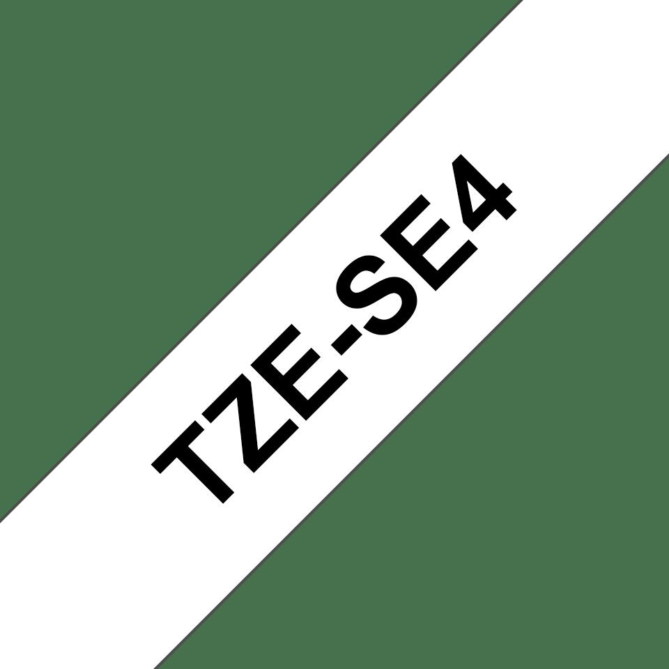 Oryginalna taśma zabezpieczająca TZe-SE4 firmy Brother – czarny nadruk na białym tle, 18mm szerokości 3
